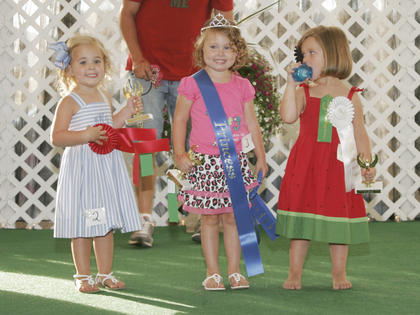 Winners of the Miss and Mister Toddler Taylor County Fair pageant are, in the 3-year-old girls category, from left, first runner-up was Braylee Jade Mackie, winner was River McFarland and second runner-up was Grace Lee Sprowles.