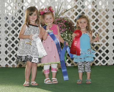 Winners of the Miss and Mister Toddler Taylor County Fair pageant are, in the 4-year-old girls category, from left, first runner-up was Kyli Elisabeth Young, winner was Amrce Rose Hammons and second runner-up was Peyton Renn.
