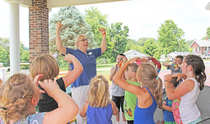 """Low fat, high fiber, lots of water, exercise!"" the children shout while learning about nutrition at A Child's Workplace. Freeman teaches a nutrition class at the day care to encourage children to make healthy choices. To request a class with Freeman, call (270) 465-4511."