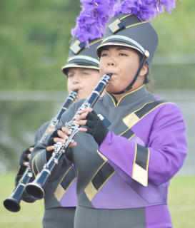 From left, Austin Fitzgerald and Claudia Rogers play clarinet for the CHS band.