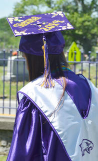 Sienna Montgomery decorated her cap with her name.