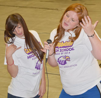 "Sienna Montgomery, at left, and Emily Haley sing karaoke to ""Call Me Maybe."""
