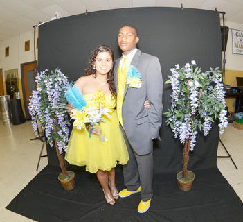 Lily Delgado and her date, Domentz Smith, match in yellow at the CHS prom.