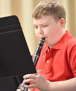 """CMS Beginning Band members perform """"Jolly Old St. Nicholas."""""""