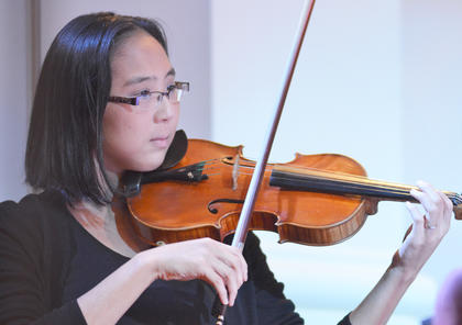 Saelim Henderson of Busan plays violin with the Chamber Orchestra.