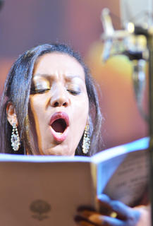 Lidiane Macedo of Brazil, who sings soprano with the University Chorale and Concert Chorus, performs a solo.