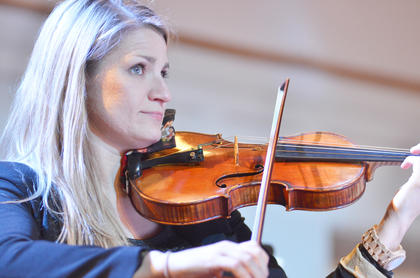 Maureen Murchie of New York, who visited Campbellsville this past weekend, plays violin with the Chamber Orchestra.