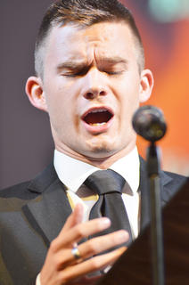 Ian McGuffin of Bardstown, who sings bass with the University Chorale and Concert Chorus, performs a solo.