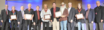 The Oak Ridge Boys receive leadership awards from CU officials.