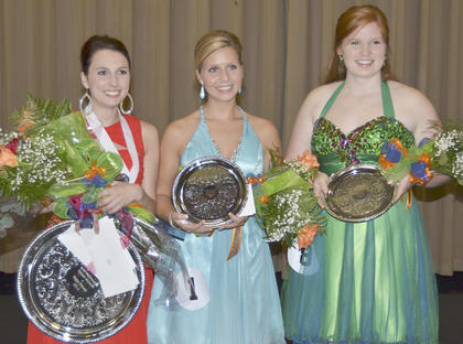 Katelyn McMahan, at left, was named Taylor County's Distinguished Young Woman for 2014 on Saturday. Becca Orberson, middle, was first runner-up and Emily Haley was second runner-up.