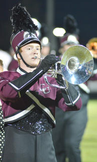 Jarrod Fenwick of Lebanon plays with the CU marching band.