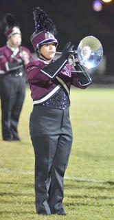 Celene Melendez of Franklin performs with the CU marching band.