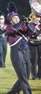 Toby Cisco of Campbellsville plays trumpet with the CU marching band.