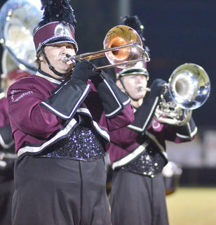Tyler Bland of Campbellsville plays trombone with the CU marching band.