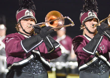 Tyler Bland of Campbellsville, at left, and Daniel Stapp of Russell Springs play trombone with the CU marching band.
