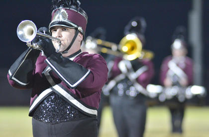 Nick LaFollette of Hodgenville plays trumpet with the CU marching band.