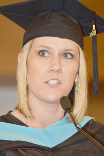 Sarah Beth Newton Hayes of Campbellsville responds to the charge CU President Dr. Michael V. Carter gave to her class.