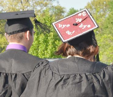 Rebecca Oliver of Campbellsville decorates her cap as she says goodbye to CU.