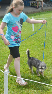 Gwendolyn Gadberry of Campbellsville walks her dog Scuffy around the track at the Taylor County SPCA's annual dog show on Sunday.
