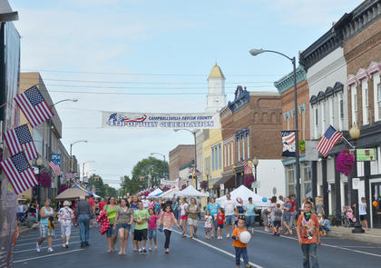 Main Street was decorated with American flags for the community's annual Fourth of July celebration.