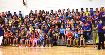 Campbellsville Elementary School students wait in the gym to head to class on the first day of school.