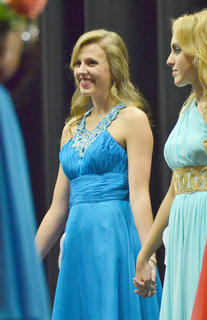Kassie Miller smiles as she hears her name called as the winner of the Taylor County Distinguished Young Women program.