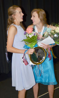 Kassie Miller, Taylor County's Distinguished Young Woman for 2015, shares a laugh with Hannah Howard, who was named first runner-up.