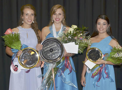 Kassie Miller, center, was named the 2015 Taylor County Distinguished Young Woman on Saturday night. She also took home interview, self-expression and scholastic preliminary awards. Hannah Howard, at left, was named first runner-up. Rachel Hinton, at right, was second runner-up and the talent award winner.