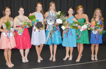 Award recipients at this year's Taylor County Distinguished Young Women program on Saturday were, from left, Savannah Delagarza, who won the leadership award; Jilly Benningfield, scholastic runner-up; Hannah Howard, first runner-up; Kassie Miller, the county's 2015 DYW and preliminary winner in self-expression, interview and scholastic; Rachel Hinton, second runner-up and talent winner; Taylor Smoot, spirit award winner; and Gabby Pyles, the fitness and Be Your Best Self winner.