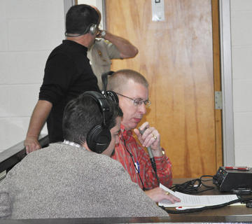 Max Wise, left, and John Kessler discuss election results on the Big Dawg radio.