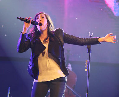 "Francesca Battistelli performs her song ""It's Your Life"" as part of the ""Hands of God"" tour Friday."