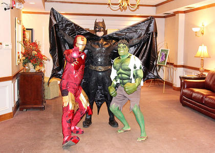Citizens Bank and Trust Co. employees were in costume to celebrate Halloween last week. Pictured here are CEO Mark Johnson (Iron Man), and loan officers Matt Hopper (Batman) and Josh Myers (The Hulk).