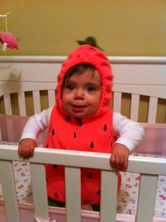 Charlie Parker is dressed as a strawberry.