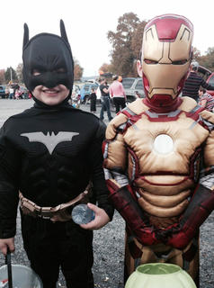 Ethan Cobb and John Lucas Richerson dress as Batman and Ironman at Muldraugh Hill Baptist Church's Trunk or Treat on Wednesday, Oct. 30.