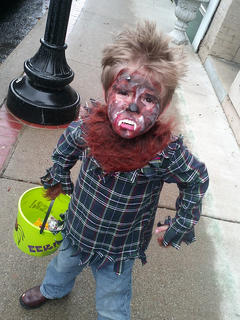 Andy Begley, 5-year old son of Eric and Holly Begley, dresses up for downtown Campbellsville's trick-or-treating on Thursday.