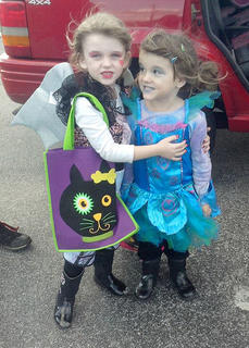 Leilah and Liana getting ready to trick-or-treat on Main Street.