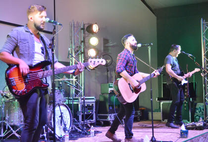 Finding Favour performs at Elk Horn Baptist Church.