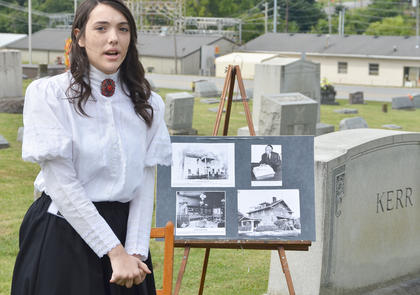 Rachel Myers portrays the spirit of the late Mattie Hill Tucker, who was married to R.L. Hill, who operated a drug store in Taylor County for many years. She later married M.W. Tucker, a banker. Mattie Tucker helped form the original Brookside Cemetery Association.