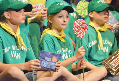 From left, Spring Squires, Jessica Minix and Whitman Tucker play new Camp Wildwood campers as they sing a song about candy.