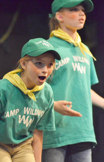 Jessica Minix, at left, plays a Camp Wildwood camper. At right is fellow camper Spring Squires.