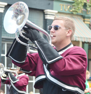 CU Tiger Marching Band member Tyler Fenwick of Lebanon plays during the homecoming parade.