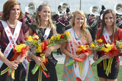 CU student Mary Kate Young, second from left, was named this year's homecoming queen. She represented Stapp Hall. Erin Clarkson, at left, who represented the Kentucky Association of Nursing Students, was named second runner-up. Audrey Wunderlich, third from left, representing Public Relations Student Society of America, was named first runner-up. Brittany Salmon of Campbellsville, at right, is this year's freshman attendant.
