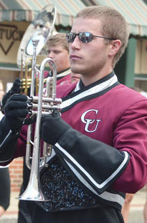 CU Tiger Marching Band member Blake Herron of Campbellsville performs during Saturday's homecoming parade.