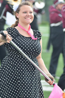 CU Tiger Marching Band member Coreena Mucci of Somerset performs during halftime of Saturday's football game.