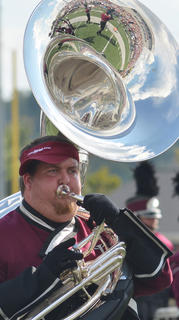 CU Tiger Marching Band member Zach Cox of Campbellsville marches during Saturday's halftime performance.