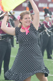 CU Tiger Marching Band color guard member Andrea Bault of Campbellsville performs during halftime of Saturday's football game.