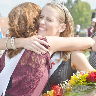 CU student Mary Kate Young was named this year's homecoming queen. She represented Stapp Hall. Erin Clarkson, who represented the Kentucky Association of Nursing Students, pictured hugging Young, was named second runner-up.