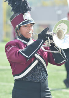 CU Tiger Marching Band member Celene Melendez of Franklin performs during halftime of Saturday's football game.