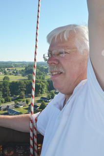 Hot air balloonist John Herbst pilots the hot air balloon in which he and CKNJ Staff Writer Calen McKinney rode.