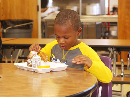 Lazarick Miller, a 5-year-old kindergartener at Campbellsville Elementary School, enjoys breakfast Wednesday morning.